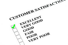 Excellent checked. Customer satisfaction or service survey being filled out Excellent Royalty Free Stock Photo