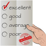 Excellent checked. Customer satisfaction survey, excellent checked vector illustration