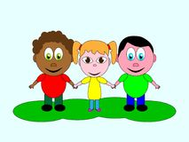 An excellent coupling of friendship of children of different nationalities. On a light background Royalty Free Stock Images