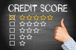 Excellent Credit Score. With five stars and thumb up stock illustration
