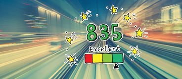 Excellent credit score theme with high speed motion blur royalty free illustration