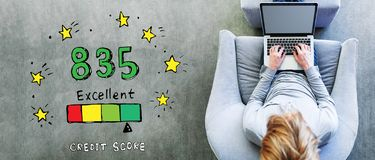 Excellent credit score theme with man using a laptop stock illustration