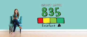 Excellent credit score theme with young woman royalty free stock photography