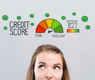 Excellent credit score theme with young woman vector illustration