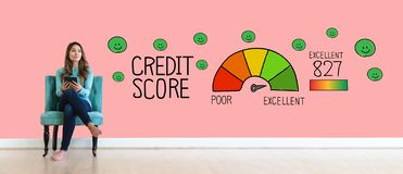 Excellent credit score theme with young woman stock images