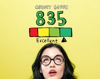 Excellent credit score theme with young woman royalty free stock photos