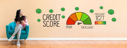 Excellent credit score with woman using a tablet