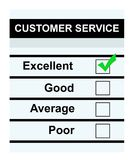 Excellent customer service. Customer service questionaire with green tick in excellent box, isolated on white background Stock Photos