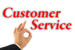 Excellent Customer Service Concept. With hand okay sign isolated on white Royalty Free Stock Photo
