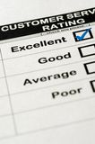 Excellent Customer Service Rating. Customer Service Survey With Excellent Rating Chosen Stock Photos