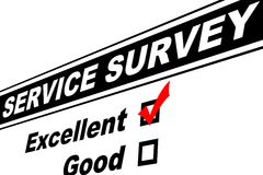 Excellent Customer Service Survey. Customer service survey filled out with Excellent chosen isolated on white Stock Photo