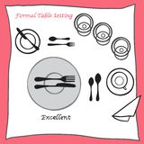 Excellent Dining table setting proper arrangement of cartooned cutlery Stock Image