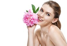 Excellent european woman with peony flower - isolated on white background Royalty Free Stock Image