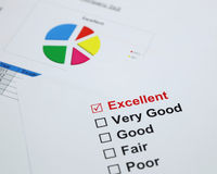 Excellent evaluation. with Excellent checked Stock Images