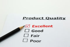 Excellent evaluation. with Excellent checked of product Royalty Free Stock Photography