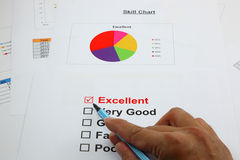 Excellent evaluation. with Excellent checked, selected with hand Royalty Free Stock Photography