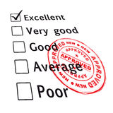 Excellent evaluation pass. Passed your business evaluation with excellent grade and ink stamp stock illustration