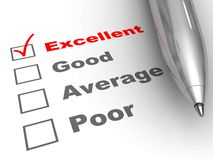 Excellent evaluation. Pen on evaluation form, with Excellent checked vector illustration