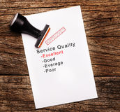 Excellent evaluation of Service Quality on paper over wooden background royalty free stock photos
