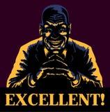 Excellent! Evil sinister bald man grinning delighted about evil deeds Royalty Free Stock Images