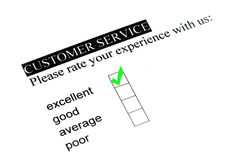 Excellent experience. On customer service form royalty free stock photos