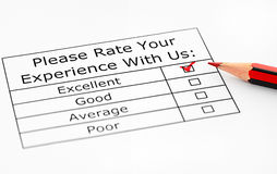 Excellent experience. Checkbox in customer service survey Stock Photo