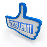 Excellent Feedback Thumbs Up Review Like Approval. The word Excellent to give positive feedback to something you like, representing good, great, awesome royalty free illustration