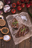 Excellent fried beef served with vegetables and spices Stock Photography
