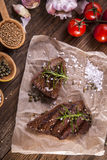 Excellent fried beef served with vegetables and spices Royalty Free Stock Photo