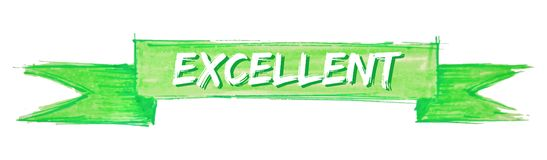 Excellent ribbon. Excellent hand painted ribbon sign royalty free illustration