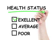 Excellent health status. Concept draw on transparent white wipe board with a hand holding a marker Royalty Free Stock Photo