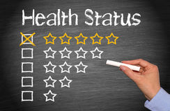 Excellent health status. Hand of a person drawing a five star health status on a blackboard or chalkboard Royalty Free Stock Photography