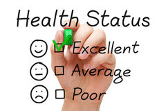 Excellent Health Status Survey. Hand putting check mark with green marker on excellent in Health Status evaluation form royalty free stock images
