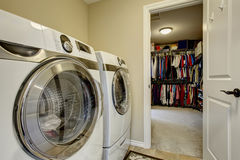 Excellent laundry room with washer and dryer. Stock Image