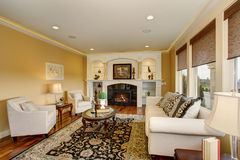 Excellent living room with decorative rug. Excellent living room with decorative rug, white furniture and a fireplace Royalty Free Stock Photos
