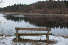 Romantic bench in nature, St. Valentine`s Day Royalty Free Stock Images