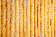 Excellent and natural breadsticks with sesame seeds with them cl. Early visible on the surface,  on white background Stock Image
