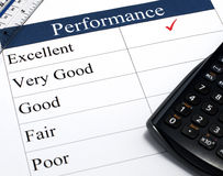 Excellent Performance. A performance checklist with a tick indicating Excellent stock images