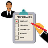 Excellent, performance, clipboard, checklist. Performance evaluation concept in flat style for web Royalty Free Stock Photos