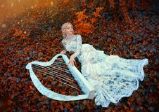 Excellent princess with blond hair in long lace vintage dress lies on red dark leaves, girl resting in autumn forest royalty free stock photos