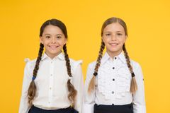 Excellent pupils. Girls perfect uniform outfit on yellow background. According to school rules. Classmates tidy pupils royalty free stock images