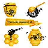 Excellent quality watercolor texture. Set of icons on a theme watercolor honey. Drawings ink, watercolor drawing. Realistic vector ornament with text labels Royalty Free Stock Photos