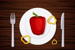 Excellent quality wood texture, table, table top, peppers on a plate, slices of pepper. Design vegetarian menu. Background of dark wooden planks. Vector Royalty Free Stock Photography