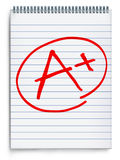 Excellent rating. O a notebook page representing a report on test results represented by an A with a plus sign in red on a white background stock illustration