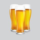 Excellent Realistic Isolated 3 glasses of beer. royalty free illustration