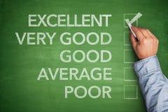 Excellent result on survey on blackboard Stock Images