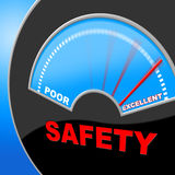 Excellent Safety Indicates Quality Excellency And Careful. Excellent Safety Showing Excellency Secure And Warning Royalty Free Stock Photos