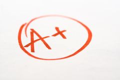 Excellent school Exam grade Royalty Free Stock Photography