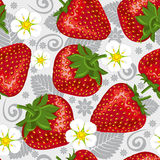 Excellent seamless pattern with strawberry. Excellent seamless pattern with with strawberry and leaves on gray background Stock Photos
