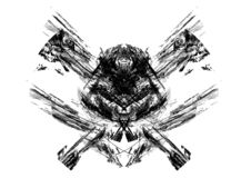 Excellent skull / pirates symbol made from fractals. Set on a white background Stock Image